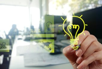 35589533 - hand drawing creative business strategy with light bulb as concept